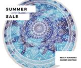Beach roundie Deep Blue|Badstof Microfiber|Rond strandlaken|Ibiza ronde handdoek|Blauwe mandala print_