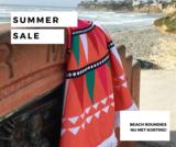 Roundie strandlaken Happy|Beach towel|Badstof|Dikke Kwaliteit|Koraal kleur|Multi colour print_