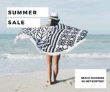 Roundie strandlaken Retro|Beach roundie|Rond strandlaken|Badstof|Ibiza ronde handdoek|Zwart wit_
