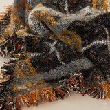 Geruite dames sjaal Cold Days|Lange shawl|Zwart bruin geel_