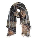 Tartan women's scarf Cold Days|Long ladies shawl|Black brown yellow_