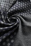 Heren sjaal Houndstooth dot|Warme heren shawl|Grijs| Gestipt geruit houndstooth|Fijne franjes_