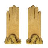 Zachte dames handschoenen Warm Touch|Geel|Nepbont|warme handschoenen_