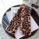 Faux fur lange sjaal Winter Animal|Bruin|Luipaard print|Nep bont_