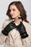 Lederen dames handschoenen Winter Vibes Zwart Zachte voering_