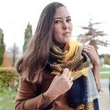 Womens scarf Multi Blocks|Square shawl|Blue yellow|Tartan|Extra soft_