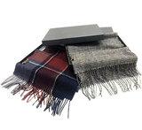 Mooie heren sjaal Pure Check Wollen shawl Geruit geblokt Grijs zwart_