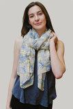 Langwerpige sjaal Layered Leaf|Lange shawl|Bladerprint|Geel Blauw_