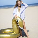 Zwemband Golden Swan Opblaasfiguur Waterspeelgoed Goud Zwaan_