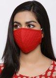 Rood mondmasker Quilt|Katoen mondkapje|100% Katoen|Wasbaar 60 graden_