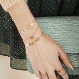 Armbandje Cali|Goudkleurig|Steen roze_