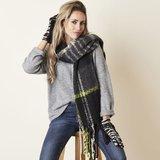 Extra dikke sjaal Keep me Warm Wintersjaal dames Zwart groen Geruit geblokt_