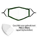 Olijfgroen mondmasker Stylish|Katoen mondkapje|Wasbaar|Excl. filters_
