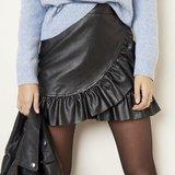 Lederlook rokje Leather Ruffle Ruches Zwart_