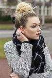 Zwart wit geruite sjaal extra breed geblokt geruit omslagdoek_