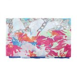 Lange dames sjaal Cheerful Day Stippen bloemen Roze blauw_