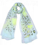 Long scarf Neon Leo Yellow Green Leopard print_