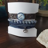 Set kralenarmbanden Sodaliet|Lederen armband|Edelsteen kralen_