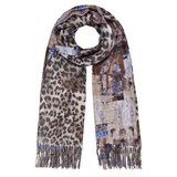 Langwerpige sjaal Patterns Luipaard dubbelzijdig Blauw Bruin_