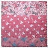 Grote vierkante dames sjaal Star Mix|Vierkante shawl|Sterrenprint|Rood Glitter_