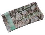 Langwerpige sjaal Minty|Slangenprint|Mintgroen, Bruin_