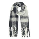 Stoere sjaal Cozy Winter grijs Extra lange dames sjaal Geruit Geblokt_