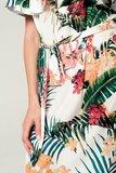 Scarfz jurk blote schouders tropical strikdetail