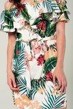 Scarfz jurk blote schouders tropische bladerprint