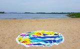 Scarfz roundie beach towel bloemen geel