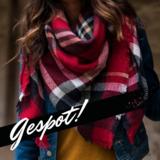 Trendy vierkante dames sjaal rood geruit_
