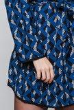 Scarfz overhemd jurk blauw zwart geometrisch lange mouwen