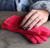 Scarfz mooie dames handschoenen rood met strik