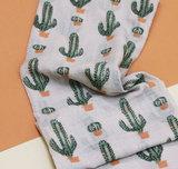 Scarfz lange dames sjaal beige groen oranje cactus