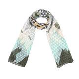 Scarfz lange dames sjaal Funky Pattern groen mint geel