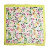 Vierkante dames sjaal Botanic Paradise geel roze groen bloemenprint