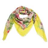 Vierkante dames sjaal Botanic Paradise geel roze groen