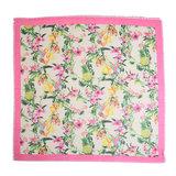 Vierkante dames sjaal Botanic Paradise bloemenprint ananas roze groen