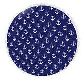 Scarfz ronde ibiza handdoek roundie towel ankers anchor blue white