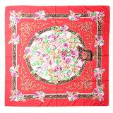 Scrafz grote vierkante dames sjaal zijde silky roses rood roze