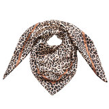 Scarfz zijdezacht vierkant klein sjaaltje silky leopard bruin