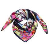 Scarfz vierkant zijdezacht sjaaltje silky beauty blauw roze