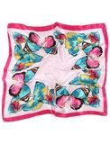 Scarfz vierkant zijdezacht sjaaltje butterfly roze pink