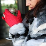 Zachte dames handschoenen Chic Bow|Rood|Strik|warme handschoenen_