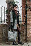 Shopper bag City Star|Grijs|PU leder|Ster|Met kleine tas erin_