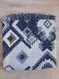 Warme dames sjaal reversible aztec|Lange dames shawl|Extra dikke kwaliteit|Aztec print|Blauw Beige Camel_