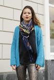 Gebreid fluffy vest Alexandre Laurent Turquoise Blauw mohair_