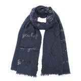 Lange dames sjaal Storytelling Blauw roze grijs tekst quotes_