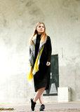 Vierkante grijs gele dames sjaal|Geel Grijs|Geblokt|Omslagdoek|Extra zacht_
