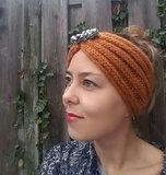 Scarfz warme haarband hoofdband diamond tales rust brown roest bruin knitted