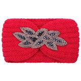 Hoofdband Winter Sparkle|Rood|Gebreide haarband|glitter_